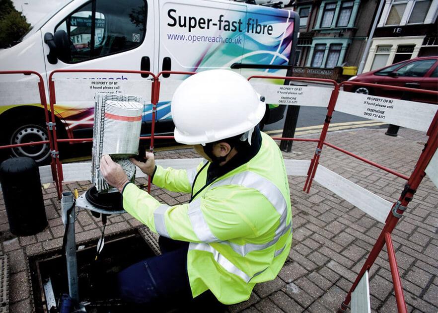 Engineer Installing Fibre